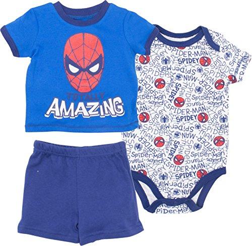 y Boys' 3pc T-Shirt Shorts and Bodysuit Set, Blue (0-3 Months) (Baby T-shirt Bodysuit Short)