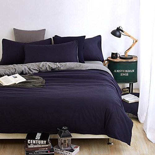 Grey Navy Blue Bedding Set Duvet Cover Pillow Sham Flat Sheet Teen Kids Boys Girls Bedding, Twin Size