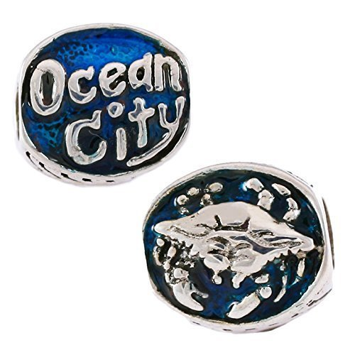 Ocean City Detailed Crab with Blue Enamel - 925 Sterling Silver Charm Bead - Perfect Summer Beach Vacation Travel Souvenir and Gift