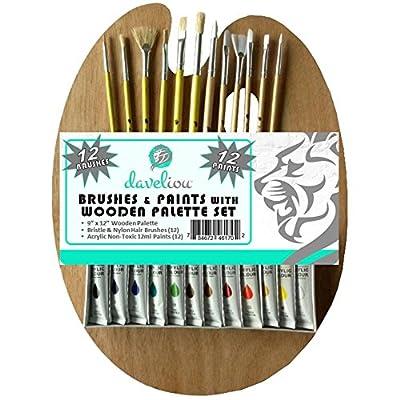 Daveliou Paint Brushes & Palette Set - 12 Brushes - 12 Acrylic Non-Toxic Paints - Wooden Palette
