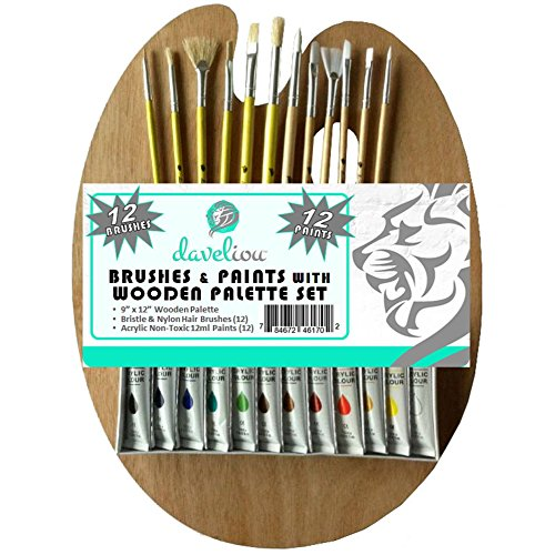 Daveliou Paint Brushes Palette Set
