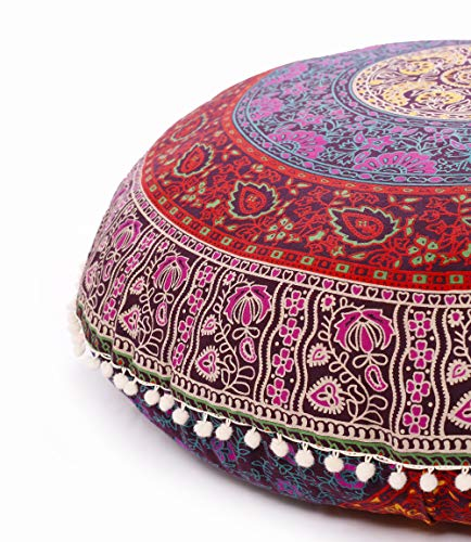- Popular Handicrafts Large Hippie Mandala Floor Pillow Cover - Cushion Cover - Pouf Cover Round Bohemian Yoga Decor Floor Cushion Case- 32