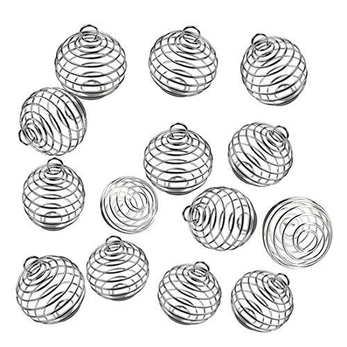 JIALEEY Spiral Bead Cages Pendants, 100 PCs 25x30mm Silver Plated Stone Holder Necklace Cage Pendants Findings for Jewelry Making and Crafting