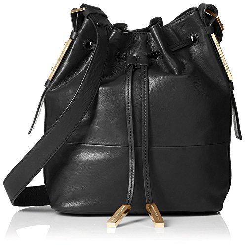 French Connection Women's Danny Leather Drawstring, Black/Morello