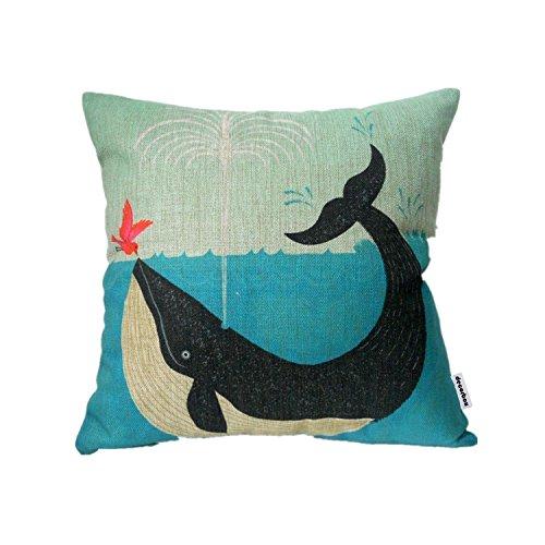 Decorbox Cotton Linen Square Decorative Retro Throw Pillow Case Vintage Cushion Cover Whale and Bird Friend 18