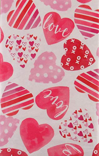 Valentine's Day Decorative Hearts Vinyl Flannel Back Tablecloth (52
