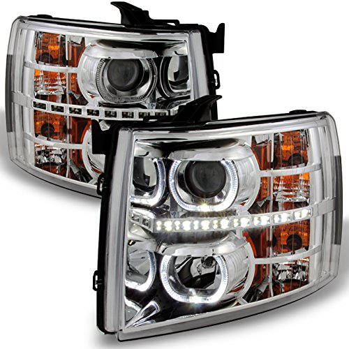 - For Chevy Silverado Pickup Exclusive Halo Projector Ultra Bright SMD DRL LED Headlights Front Lamps