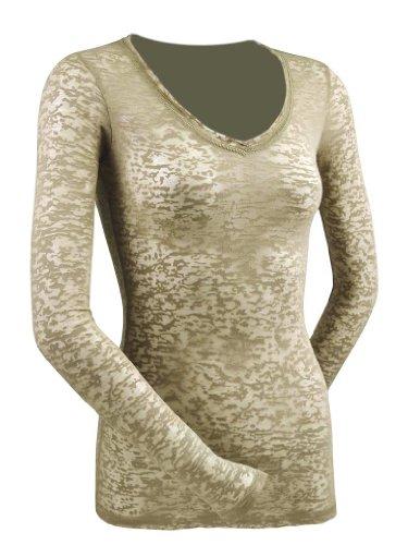 Sleeve V-neck Burnout Tee - Kavio! Women Burnout Raw Edge V Neck Long Sleeve Willow Green XL