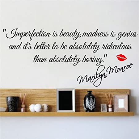 imperfection is beauty marilyn monroe wall sticker quote home decal