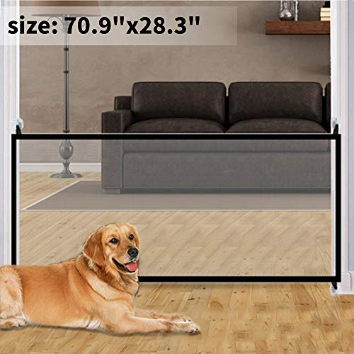 70.9″x28.3″Magic Gate for Dogs, Pet Gate,Magic Gate Portable Folding mesh gate Safe Guard Isolated Gauze Indoor and Outdoor Safety Gate Install Anywhere for Dogs