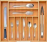 Best Flatware Silverware Kitchen Drawers - Bamboo Kitchen Drawer Organizer - Expandable Silverware Organizer/Utensil Review