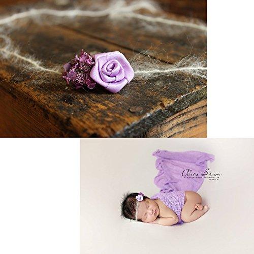 Flower Duo Mohair Tieback Headband, photography prop, Newborn, Toddler, Child, Adult (Purple)