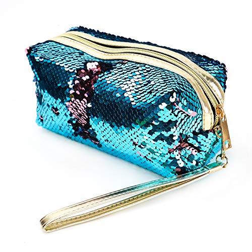 (Buorsa Fashion Double Color Reversible Magical Sequins Handbag Glitter Pencil Case Cosmetic Bag Mermaid Sequin Makeup Pouch Makeup Bags(Blue& Pink) )