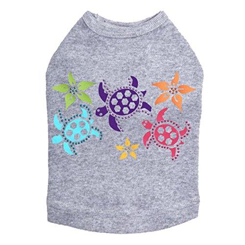 (Satin Sea Turtles with Flowers - Spring Flower Rhinestone Dog Shirt)