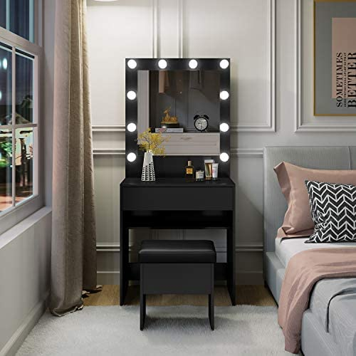 M W Makeup Vanity Table Set with 3 Color LED Lighted Mirror, Dressing Desk with Large Drawer and Cushioned Stool for Bedroom, Black