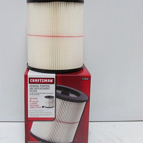 Craftsman (9-17816) General Purpose Red Stripe Vaccum Cartridge Filter, 8.5 Inches - Whte/Red