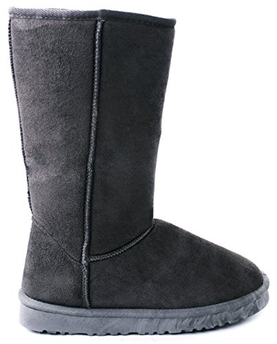 JJF Shoes House Grey Faux Suede/Fur Lined Mid Calf Shearling Winter Snow Boots-8.5 ()