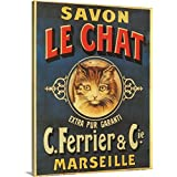 Vintage Apple Collection Premium Thick-Wrap Canvas Wall Art Print entitled Savon Le Chat - Vintage Soap Advertisement