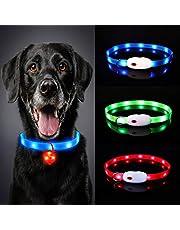 Oladwolf Upplyst hundkrage, LED-hundkragslampor för mörkret, ultraljust USB-uppladdningsbart snitt för att passa alla storlekar med blinkande hund- och katthalsband vattentät