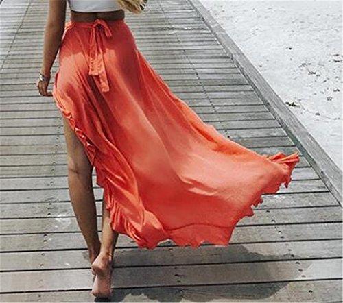 Orange Volants Fendue Loisir Jupe Longue Couleur De Femme Femelle Jupe Jupe Glamour Lacets Chic Unie Jupe Plage avec Skirt Haililais 0wYHqtn7UY