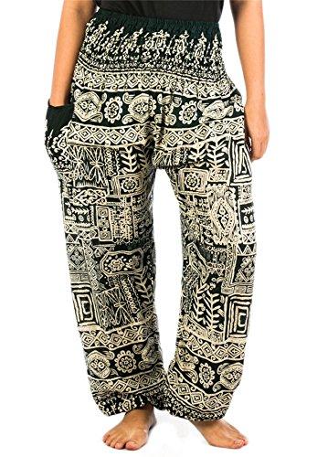Lofbaz Scuro Pantaloni Harem Smocked Boho Waist Donna Pilates Yoga Verde Funky Colorato AwqfrA6