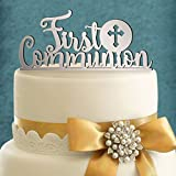[USA-SALES] Baptism Christening, First Communion Balloons, Party Decorations, Qty. 20 pcs, by Usa-Sales Seller (First Communion Cake Topper Mirror Silver)