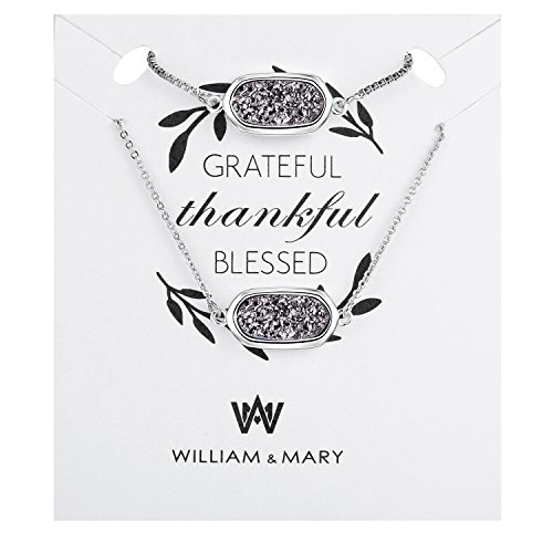 WISHMISS Grateful Thankful Blessed Jewelry Set- Natural Drusy Quartz Bracelet and Necklace Set with Inspirational Quotation Card Prefect Gift for Women by WISHMISS (Image #1)