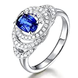 Gorgeous Fashion Blue Sapphire Gemstone Dimond Wedding Promise Engagement 14K Solid White Gold Band Ring Sets for Women