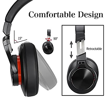 Bluetooth Headphones Over Ear with Microphone Sports Sweatproof Noise Cancelling Wireless Headphones for Travel Work TV Computer Iphone