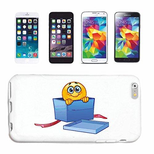 """cas de téléphone iPhone 6 """"SMILEY DANS UN CADEAU Packed """"sourire EMOTICON APP de SMILEYS SMILIES ANDROID IPHONE EMOTICONS IOS"""" Hard Case Cover Téléphone Covers Smart Cover pour Apple iPhone en blanc"""