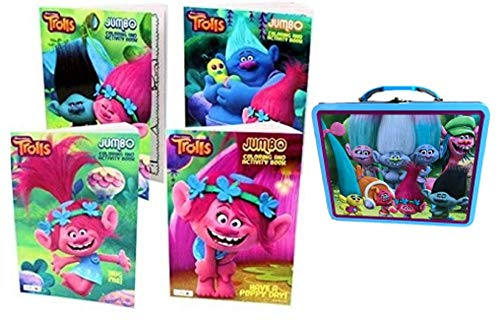 (Elsies Shop Trolls 4 Coloring Books Poppy & Friends Lunch Snack Tin Tote Bundled Set of 5)