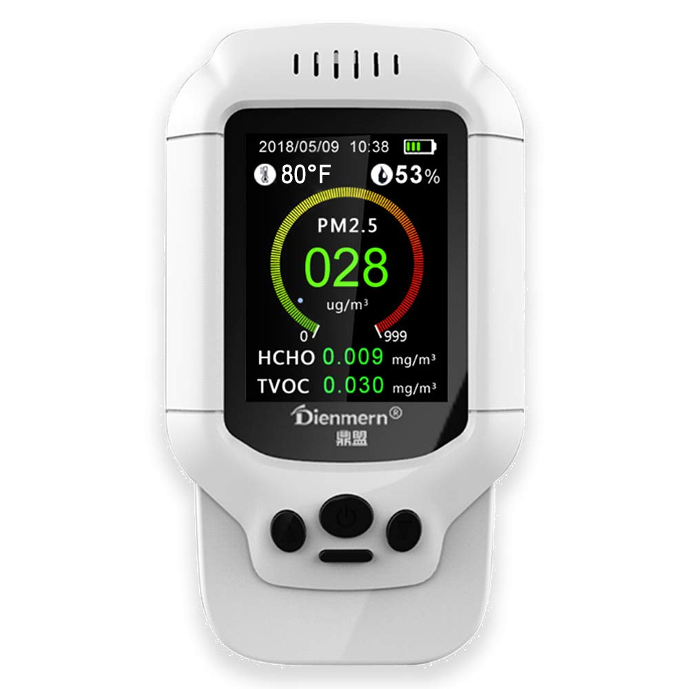 Professional Real Time and History Data Air Quality Monitor with Alarm Accurate Test PM2.5 PM1.0 PM10 Formaldehyde (HCHO) TVOC Air Quality Index (AQI) Humidity Temperature Detector for Indoor Outdoor HOTGOOO Technology Co. Ltd.