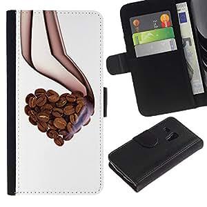 UNIQCASE - Samsung Galaxy S3 MINI NOT REGULAR! I8190 I8190N - cool love coffee beans aroma heart - Cuero PU Delgado caso cubierta Shell Armor Funda Case Cover