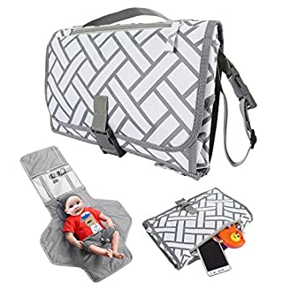 Portable Baby Diaper Changing Pad, Waterproof Travel Mat Station Diaper Bagwith Smart Wipes Pocket, Baby Newborn Boy Girl Essentials Gifts