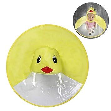 D&D DD Chubasquero para Niños, Dibujos Animados Pato Forma de OVNI Plegable Manos Libres Sombrero