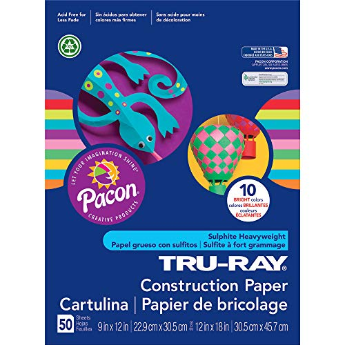 (Tru-Ray Heavyweight Construction Paper, Bright Assorted Colors, 12