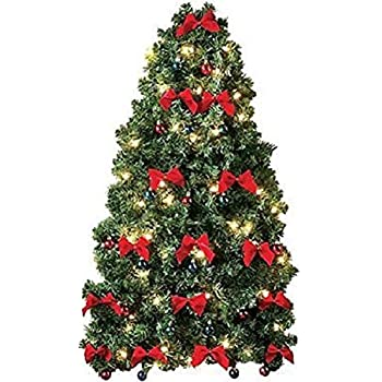 pre decorated wall hanging christmas tree w red bows mini ornaments - How To Decorate A Small Christmas Tree