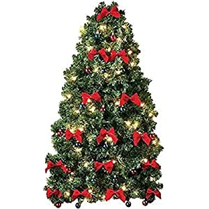 CE-AS Pre-Decorated Wall Hanging Christmas Tree w/Red Bows & Mini Ornaments 79