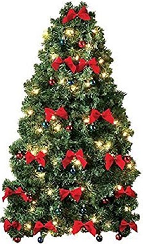 pre decorated wall hanging christmas tree w red bows mini ornaments - Already Decorated Christmas Trees
