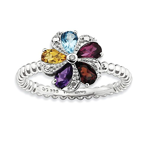 Genuine Gemstone, 1pt Diamond & Sterling Silver 11mm Flower Ring (H-I Color, I3 Clarity), Size 6