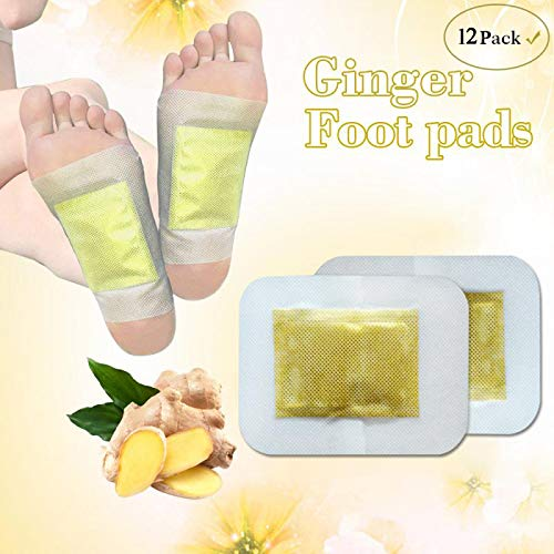 Ginger Foot Pads, Ginger Pads, Organic Herbal Ginger Pads for Better Sleep, Swelling Foot Pain Relief and Body Cleansing, Pure Natural Bamboo Vinegar and Ginger Powder Premium Ingredients,12 Pcs.