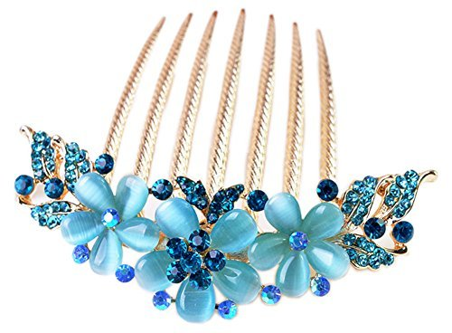 Vwhite Womens Girls Alloy Rhinestones Flower Hair Combs Pins Hair Accessories Blue by (Nao Flower)