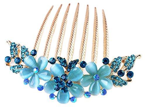 Vwhite Womens Girls Alloy Rhinestones Flower Hair Combs Pins Hair Accessories Blue by (Nao Flower)