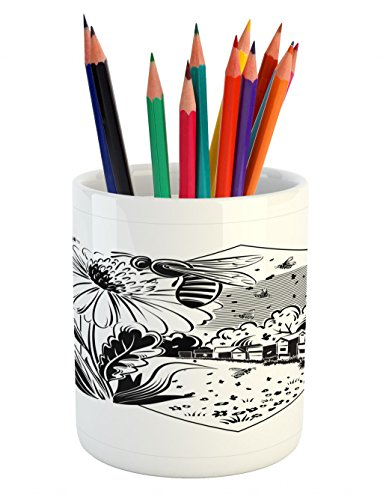 Cheap  Lunarable Black and White Pencil Pen Holder, Monochrome Sunflowers and Beehive in..