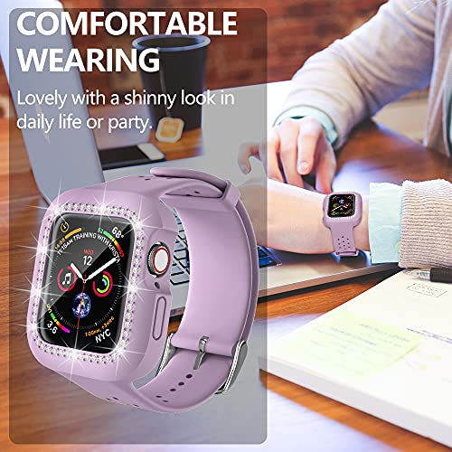 Henpone Smart Watch Bands with Case for Women Girl i-Watch Protect Band Compatible with Apple Watch Diamond Rhinestone Silicone Wristband Strap Series 5 4 3 2 1