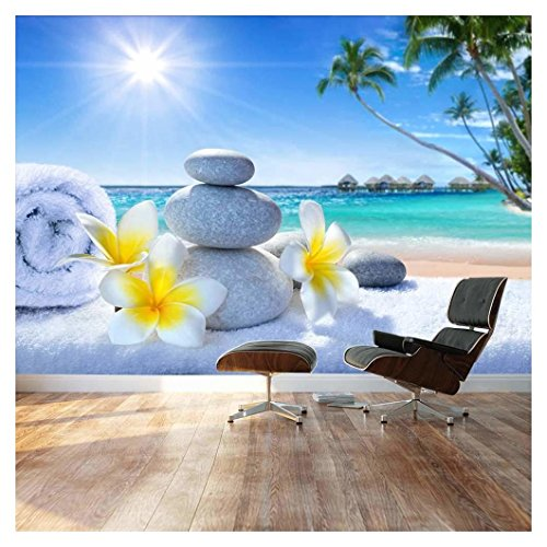 Large Wall Mural Spa Treatment on Tropical Beach Vinyl Wallpaper Removable Decorating