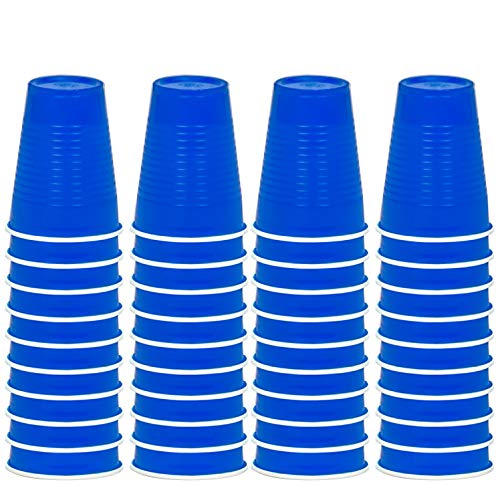 DecorRack 40 Party Cups, 12oz Reusable Disposable Soda Cups for Birthday Party, Bachelorette, Camping, Indoor Outdoor Events, Beverage Drinking Cups, Round -BPA Free- Plastic Cups, Blue (40 Pack) ()