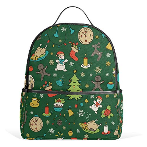 ZXL Merry Christmas Cupcke Backpack Waterproof Shoulder Book Bag Gym Backpack, Snowflake Snowman Bag Casual Day Pack Outdoor Travel Sports Bag for Women Men ()
