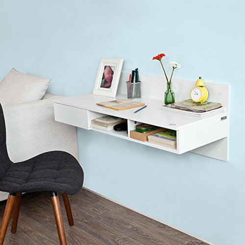 Haotian FWT30-W, Wall-mounted Computer Table Desk, Home Office Desk Workstation, with 1 Drawer and 2 Open Compartments, White ()