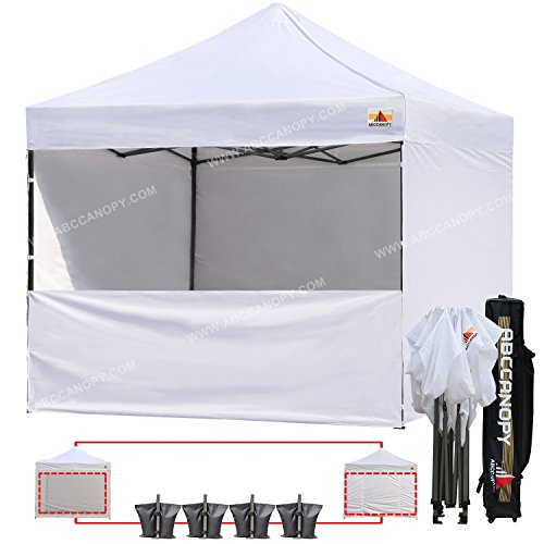 Craft Show Display - ABCCANOPY 18+ colors Commercial 10x10 Instant Canopy Craft Display Tent with Wheeled Carry Bag & Full Walls, Bonus 4x Weight Bag & 10ft Screen Wall & 10ft Half Wall (White)